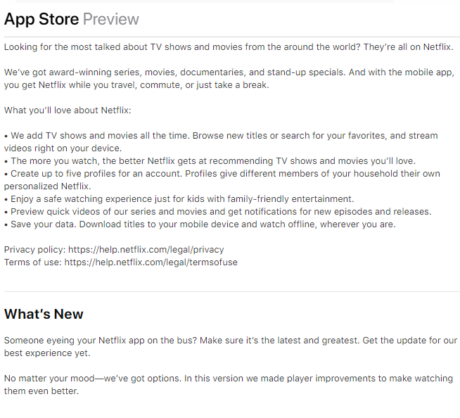app store description