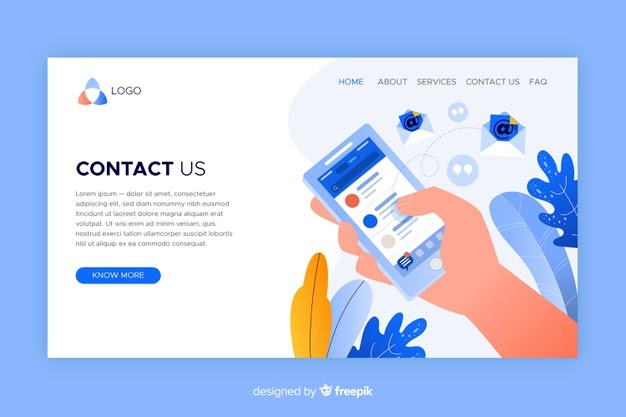 website's contact us concept landing page