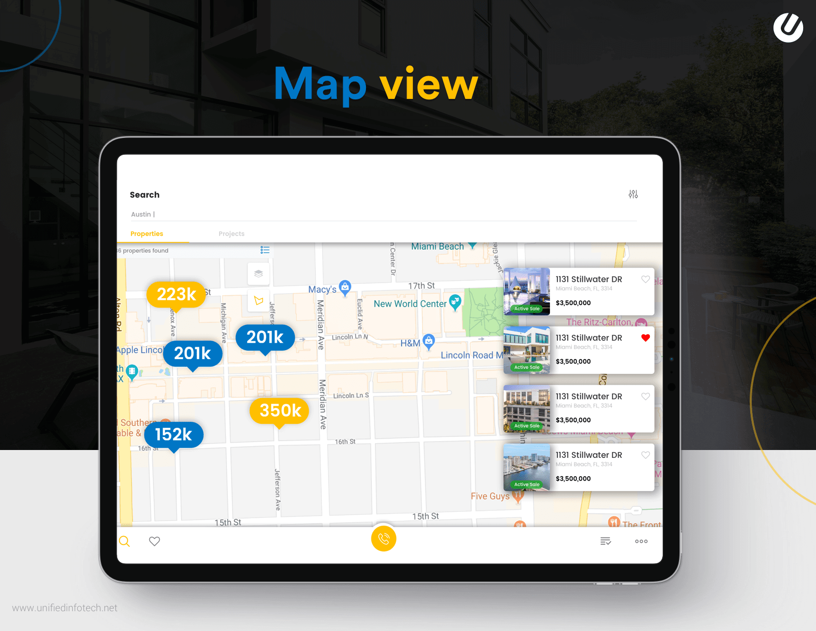 create your own real estate app with map view