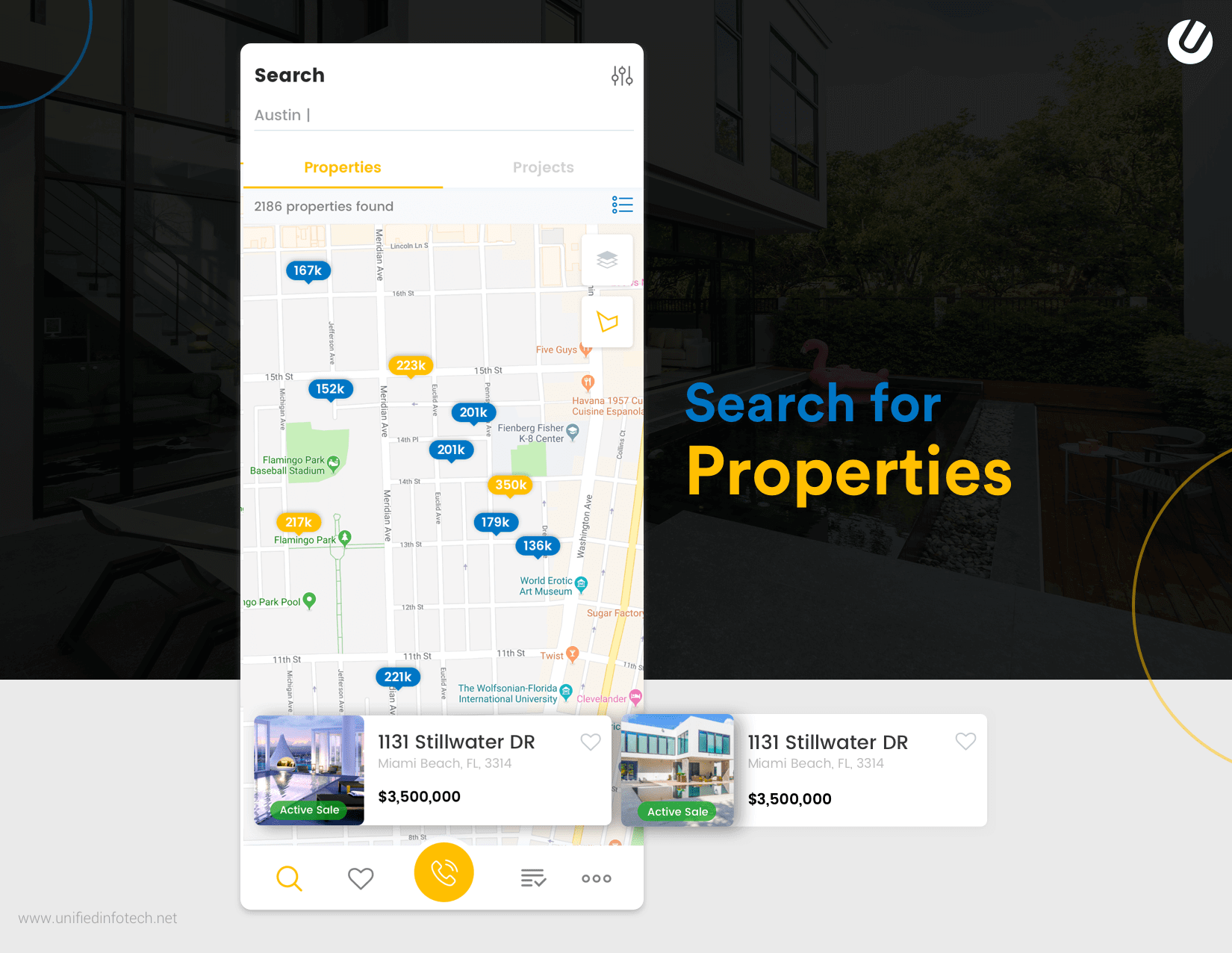 create a relate estate app with property searching feature
