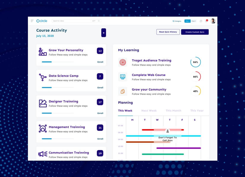 create LMS website with course activity