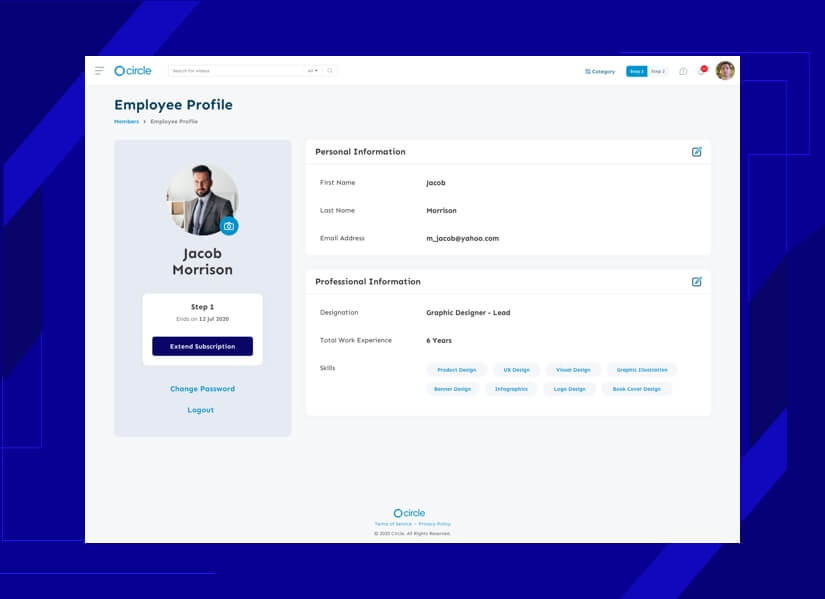 create LMS website with profile design