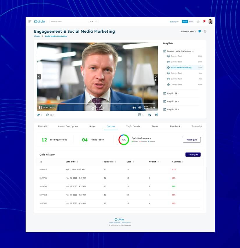 create LMS website with video conferencing feature