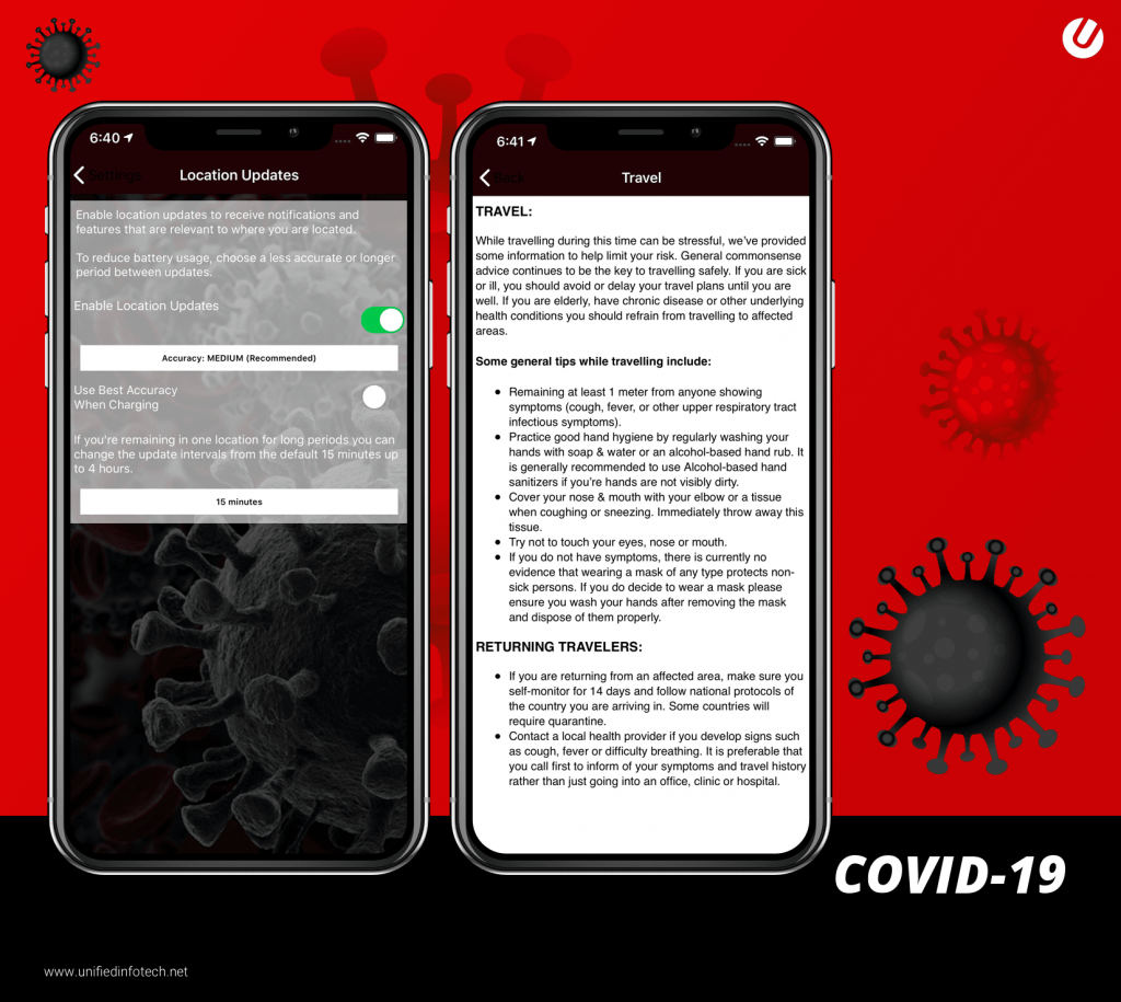 covid app designed by unified infotech
