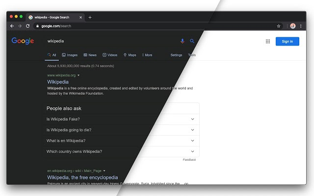 dark mode in web design