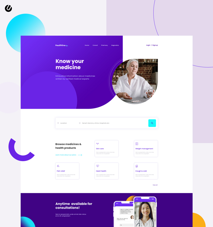healthcare web application screen UI