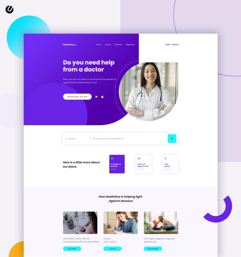 healthcare application design for web application